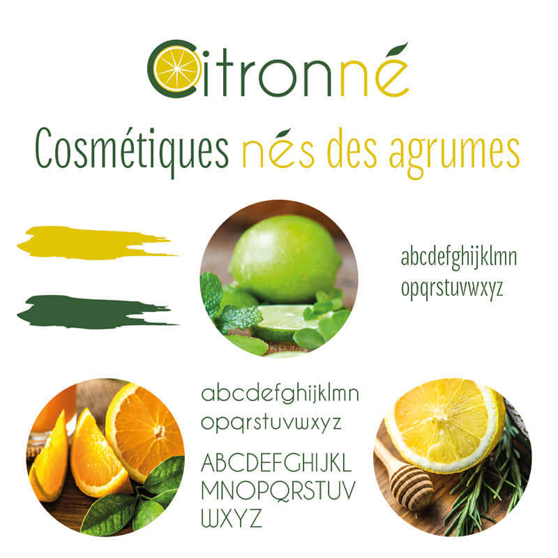 Brand board de la marque Citronné - Cosmétiques nés des agrumes