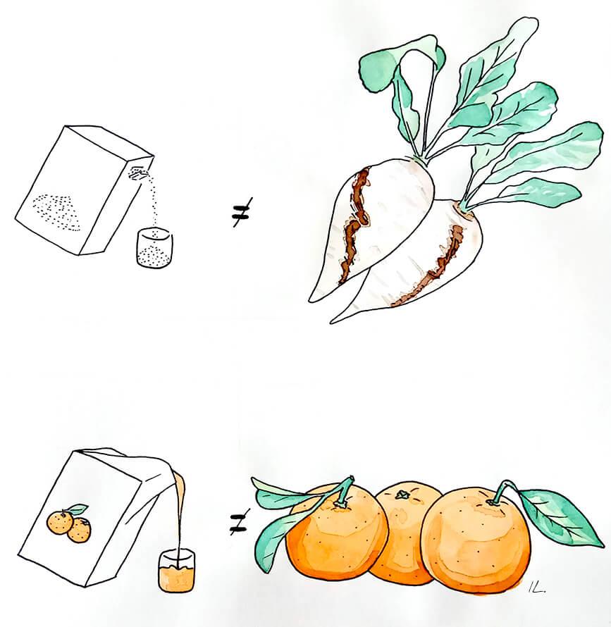 Manger du sucre en poudre, ce n'est pas manger des légumes. Boire du jus de fruit, ce n'est pas manger des fruits.
