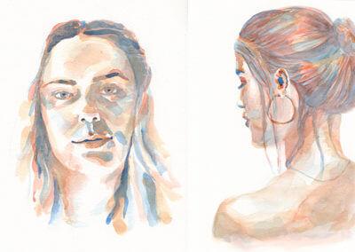 Portraits féminins à l'aquarelle